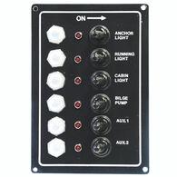 Overton's Waterproof 6-Gang Toggle Switch Panel w/LED Indicators