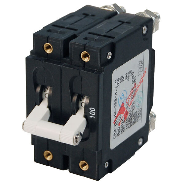Blue Sea Systems C-Series Toggle Switch Circuit Breaker, Double Pole 100 Amp