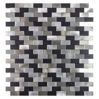 "Peel-and-Stick Mosaic Wall Tile, 11"" x 12"", Metallic Metal Brick"