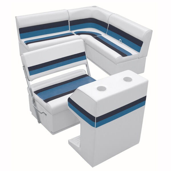Deluxe Pontoon Furniture w/Toe Kick Base - Rear Group 3 Package, White/Navy/Blue