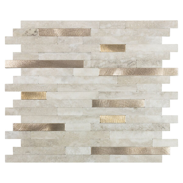 """Peel-and-Stick Mosaic Wall Tile, 11"""" x 13"""", Golden Oasis Beige and Gold"""