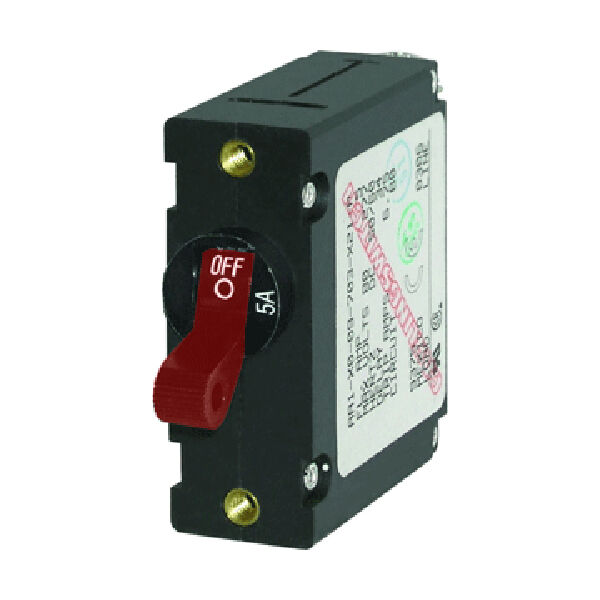 Blue Sea Circuit Breaker A-Series Toggle Switch, Single Pole, 5A, Red