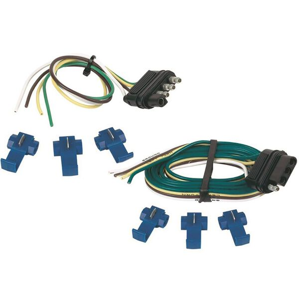 "4-Way Flat Connector Set with Splices, 48"" Vehicle Side and 12"" Trailer Side"