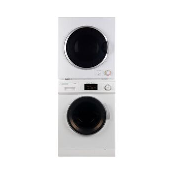 Stackable set of 1.6 Cu. Ft. Compact Super Washer & 3.5 Cu. Ft. Compact Short Dryer