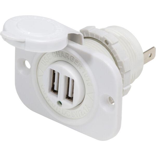 Blue Sea 12V DC Dual USB Charger Socket, White