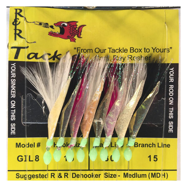R&R Tackle GIL8 Sabiki Hooks With Multicolor Feather/Fish Skin