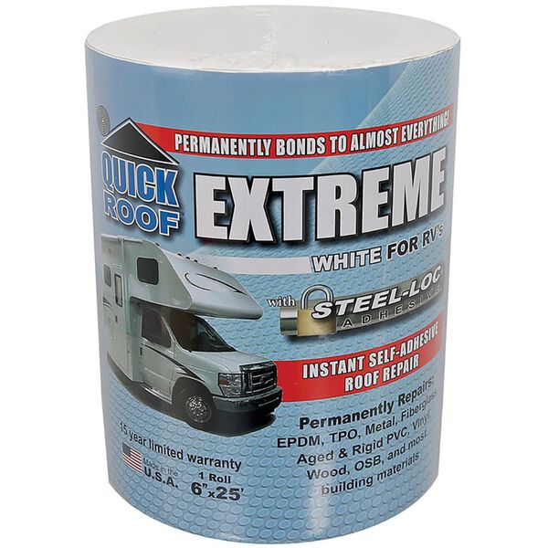 """CoFair Products UBE625 Quick Roof Extreme 6/"""" x 25/' RV White Roof Tape"""