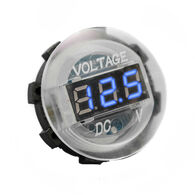 White Digital Volt Meter Round Gauge with Blue LED Lighting - 12 volt operation range