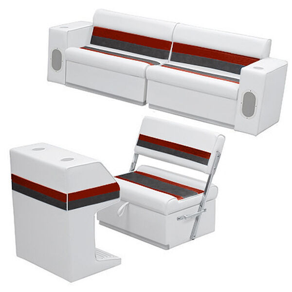 Deluxe Pontoon Furniture w/Toe Kick Base - Rear Group 7 Package, White/Red/Charc