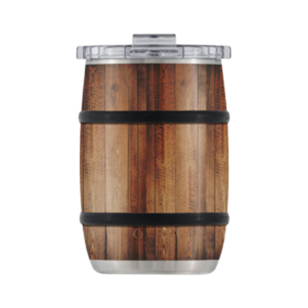 Orca Barrel 12-oz. Stainless Steel Cup w/Clear Lid, White Oak Wood Grain