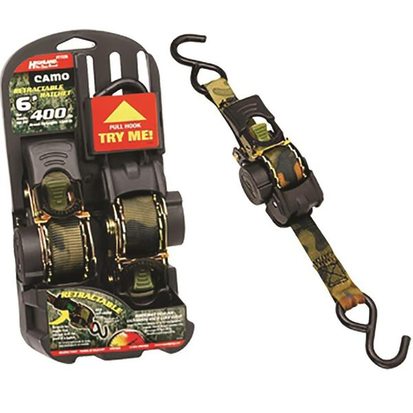 "Camo Retractable Ratchet Tie Down, 1"" x 6', 400 lbs., 2 Pack"