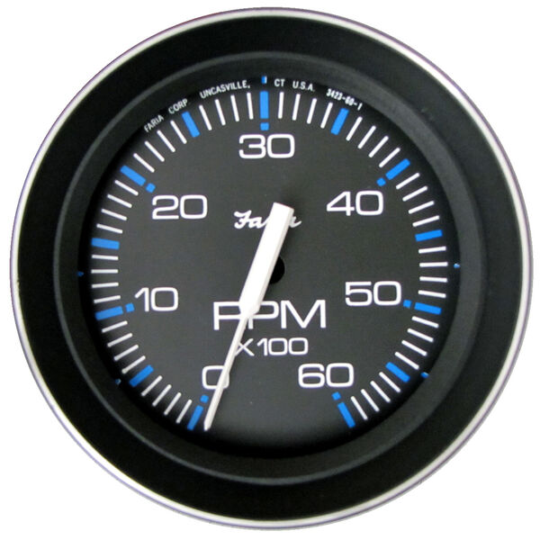 "Faria 4"" Coral Series Tachometer, 6,000 RPM Gas Inboard & Inboard/Outboard"