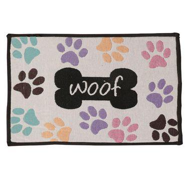 "Woof Pawprints Design, Pet Food & Water Bowl Mat, 12.75"" x 19"", Beige/Multi-Color"