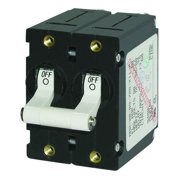 Blue Sea AC Circuit Breaker A-Series Toggle Switch, Double Pole, 10A, White
