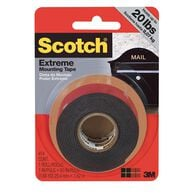 """Scotch Extreme Mounting Tape, 1"""" X 60"""" Roll, Black"""