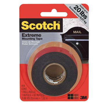 "Scotch Extreme Mounting Tape, 1"" X 60"" Roll, Black"
