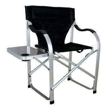 Folding Director Chair with Side Table, Black