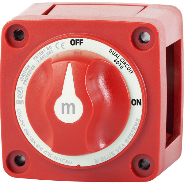 Blue Sea m-Series Mini Dual Circuit Battery Switch - Red