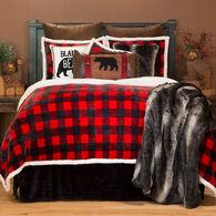 Lumberjack Black & Red Plaid 4-piece Sherpa Queen Bedding Set