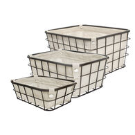 Home Expressions Set of 3 Wire Storage Baskets with Liners, Natural