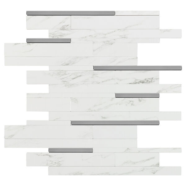 """Peel-and-Stick Mosaic Wall Tile, 11"""" x 12"""", Marble with Metal Linear Accents"""