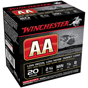 "Winchester AA Low-Recoil Target Loads, 20-ga., 2-3/4"", 7/8 oz., #8"