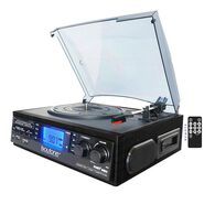 6-in-1 Turntable with Cassette and Large Display, Black