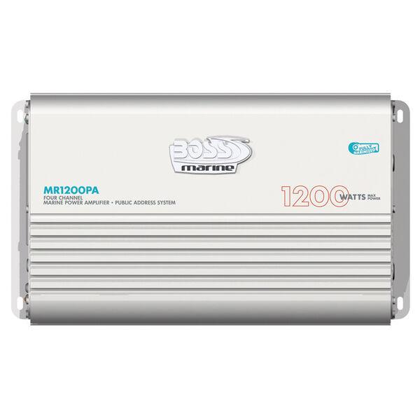 Boss Audio MR1200PA Marine 4-Channel Power Amplifier w/Built-In PA System