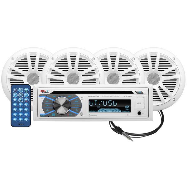 "Boss MCK508WB.64 AM/FM/MP3/USB/CD Bluetooth Receiver Package w/Four 6.5"" Speaker"