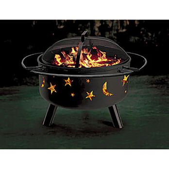 Stars and Moon Themed Solid-Steel Fire Pit/Grill Combo