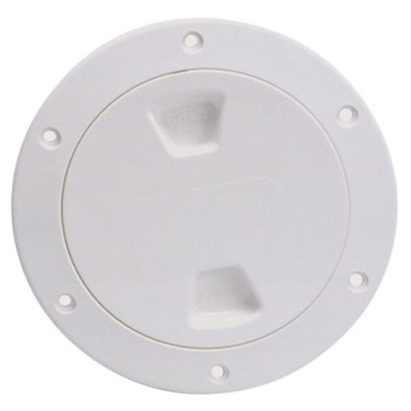 "Screw-Out 6"" White Deck Plate With Smooth Center, Includes Storage Bag"