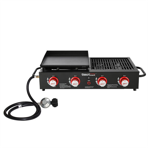 Royal Gourmet Portable 4-Burner Gas Griddle and Grill Combo