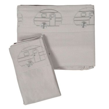 Microfiber Embroidered Sheet Set, Gray, Vintage RV Design, Queen