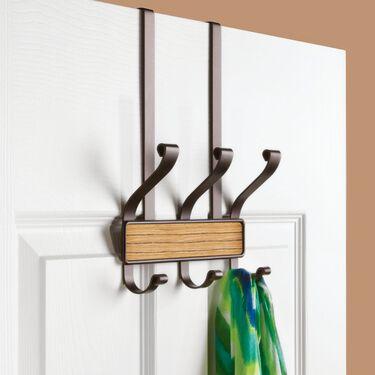 iDesign Over the Door 3 Hook Rack, Bronze