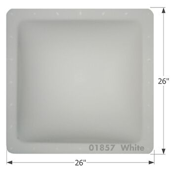 "RV Skylight, Thermoformed Polycarbonate, 26"" x 26"", White"