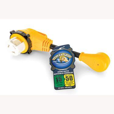 "Power Grip™ 12"" Dogbone Locking Adapters, 15-Amp Male/50-Amp Female"