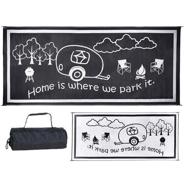 """Reversible """"Home Is Where We Park It"""" RV Patio Mat"""