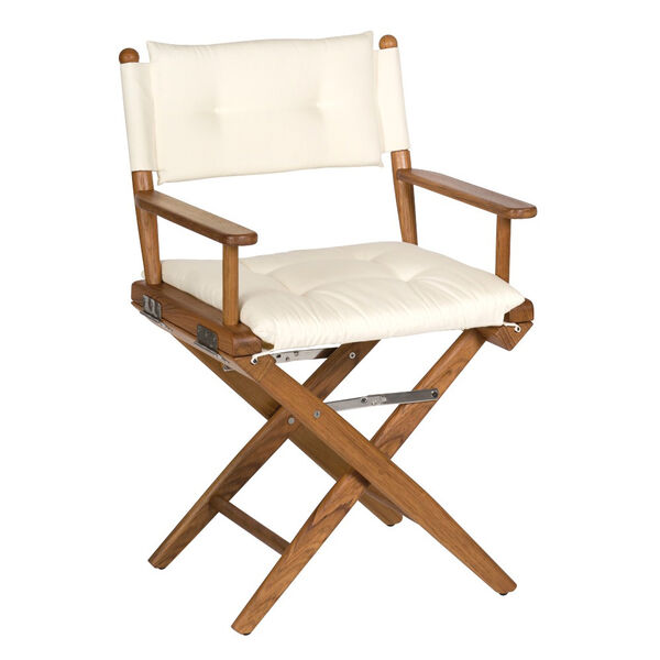 Whitecap Teak Director's Chair With Creme Seat Cushions
