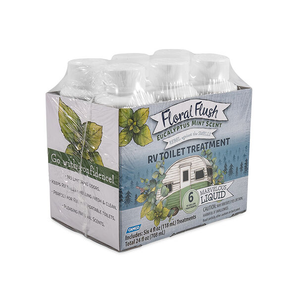 Floral Flush RV Toilet Treatment, Eucalyptus Mint, 6-Pack of 4-oz. Bottles