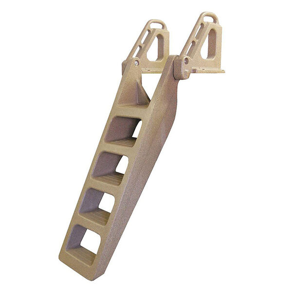 Tommy Docks Techstar Rotomolded 5 Step Wide Flip-Up Heavy Duty Stair Step Ladder - Sandstone