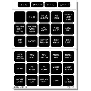 Blue Sea 4217 Square Format DC Panel Label Set, 120 labels