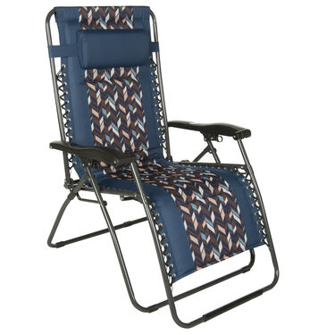 Zig Zag Oversized Zero Gravity Recliner, Blue