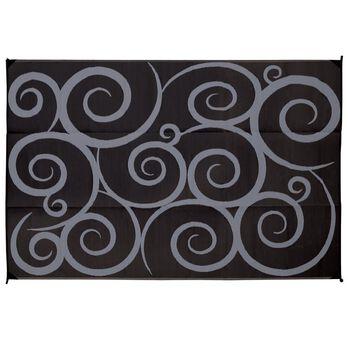 Reversible Swirl Design Patio Mat, 9' x 12', Black/Gray
