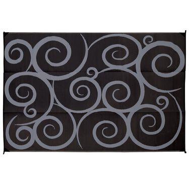Reversible Swirl Design Patio Mat, 6' x 9', Black/Gray