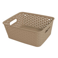 """Home Collections Y-Weave Rectangular Storage Bin, Taupe, 10""""L x 8""""W x 4""""H"""