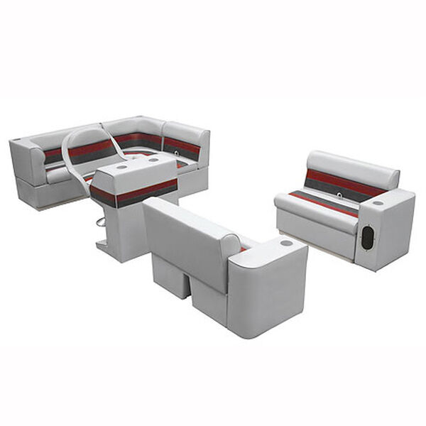 Deluxe Pontoon Furniture with Toe Kick Base, Group 1 Package, Gray/Red/Charcoal
