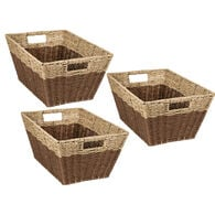 Honey Can Do Rectangle Nesting Seagrass 2-Color Storage Baskets with Built-In Handles – Natural/Brown, Set of 3