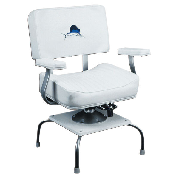 Wise Helm Chair w/Padded Arm Rests, Sailfish Logo, Quad Base, and Rod Gimbal