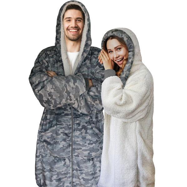 Sherpy Oversized Hoodie Blanket Reversible Sherpa Sweatshirt, Gray Camo