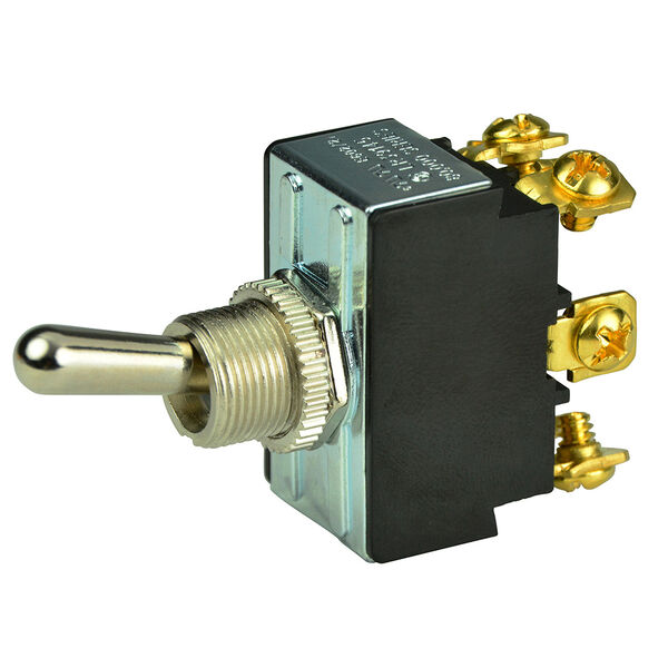 BEP DPDT Chrome Plated Toggle Switch, On/Off/On